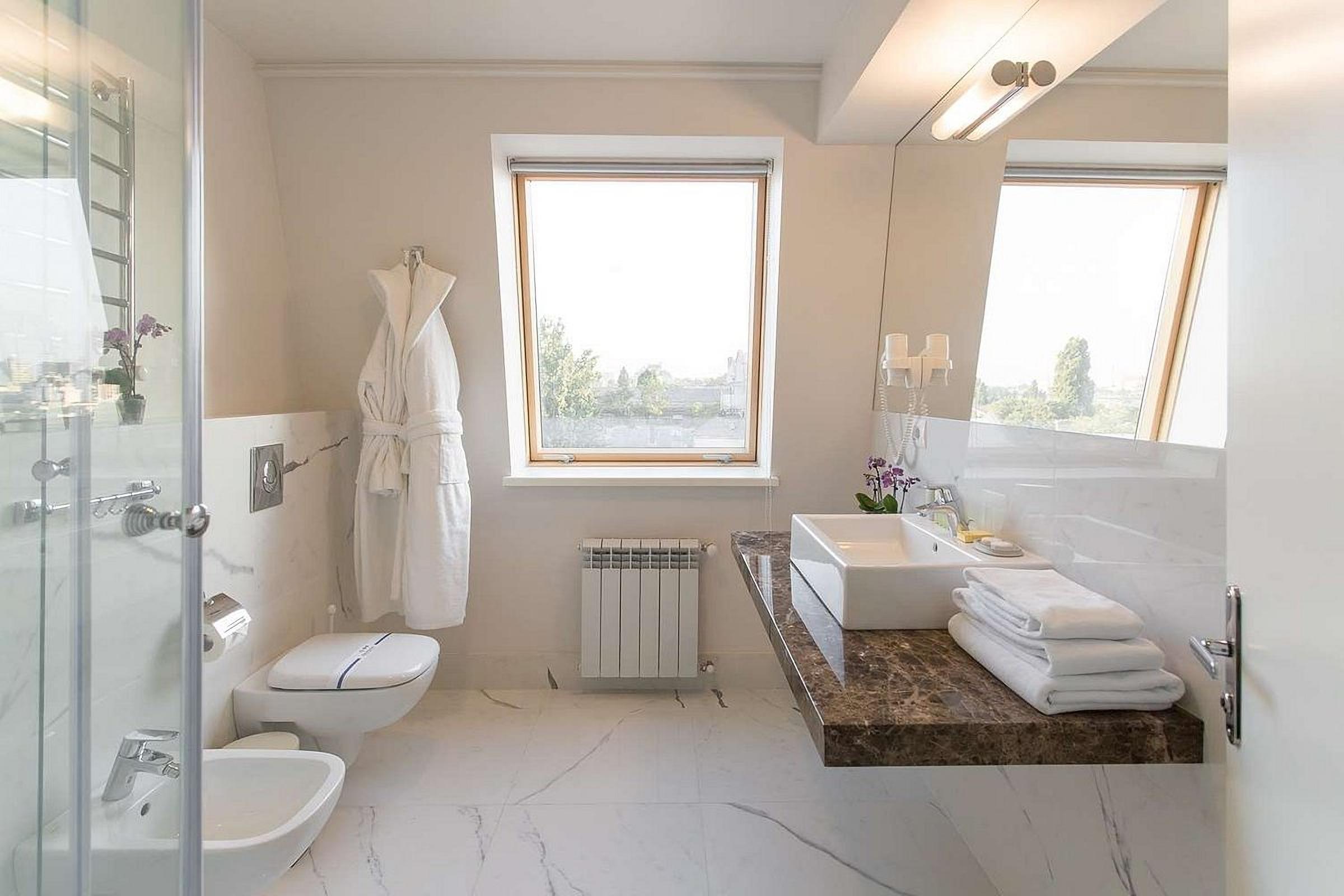 Bathroom in the room at UNO Design Hotel Odessa Ukraine