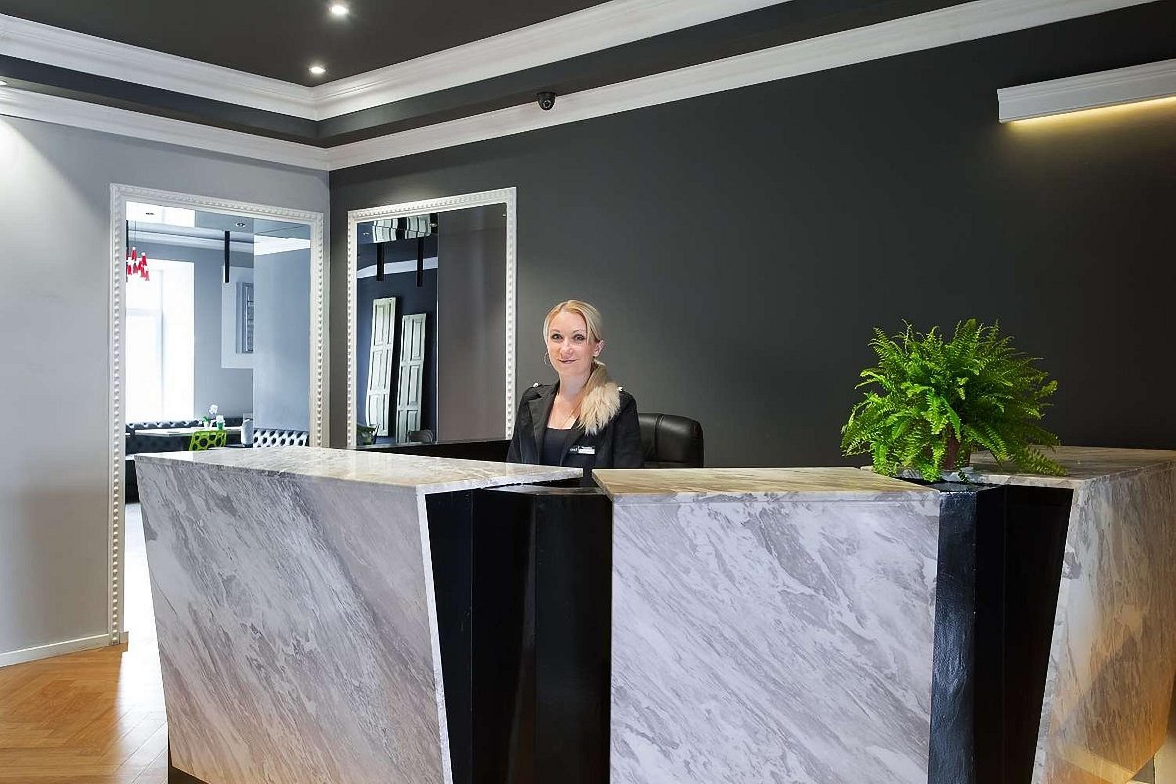 The reception desk at UNO Design Hotel Odessa Ukraine