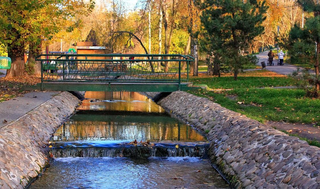 Stream in the botanical garden of Kharkov Ukraine