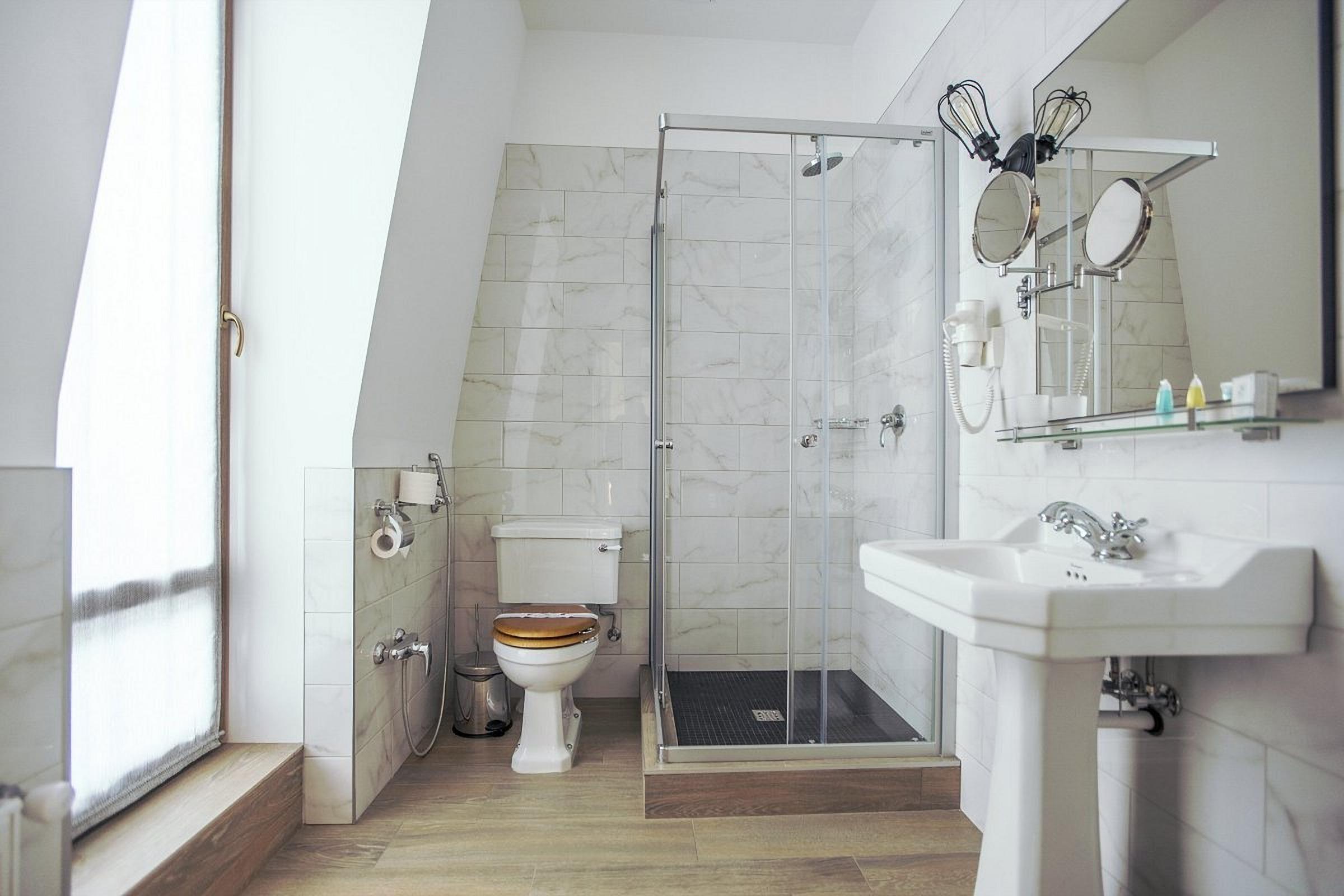 Room shower at Wall Street Hotel Odessa Ukraine