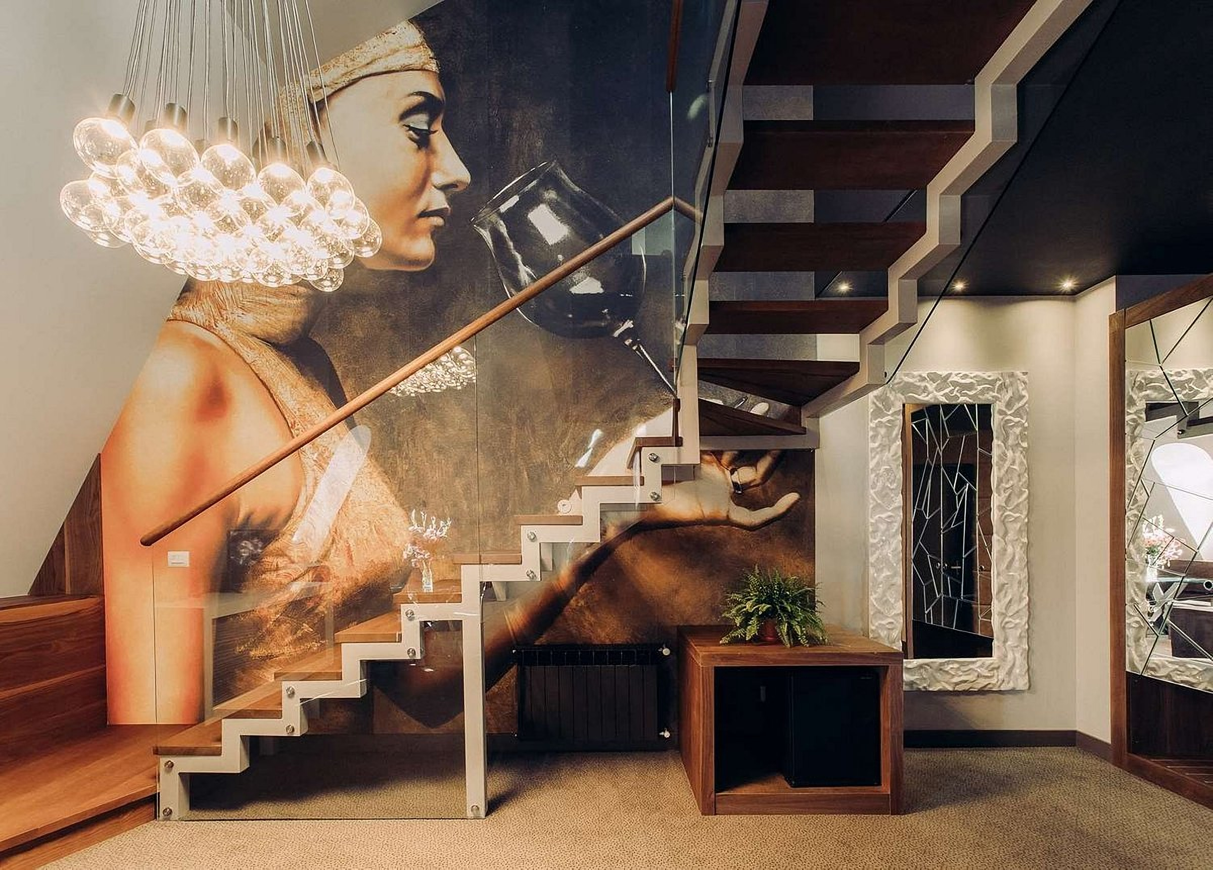 The stairs to the suite at UNO Design Hotel Odessa Ukraine