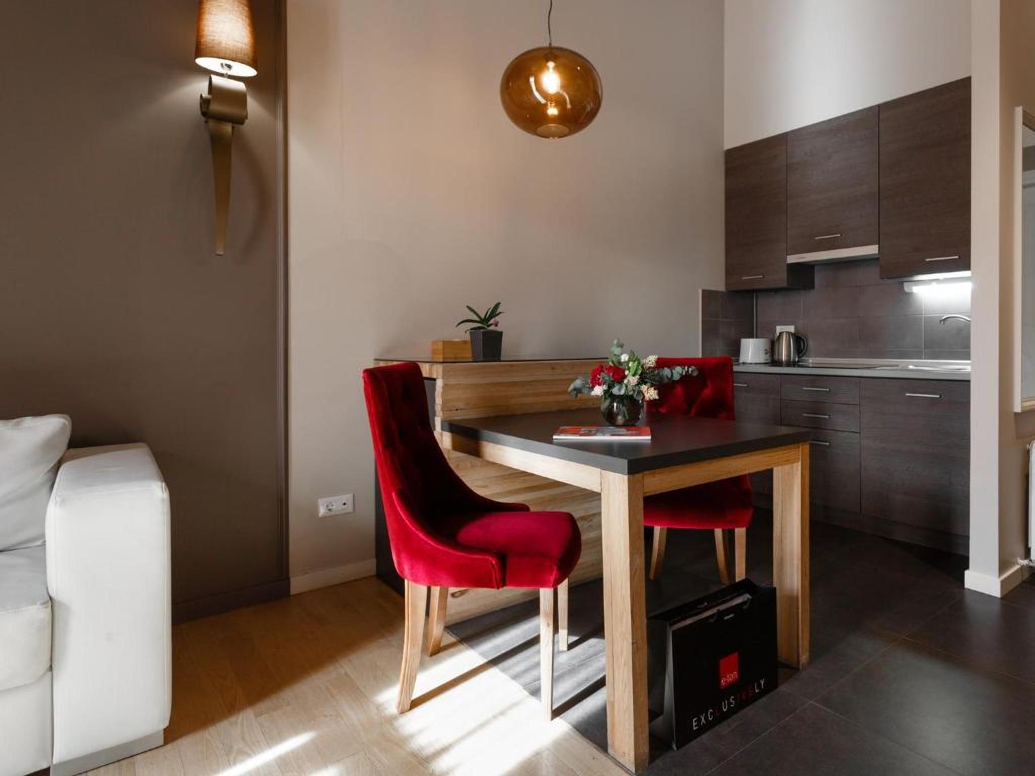 Kitchen table in the room at the UNO Design Hotel Odessa Ukraine