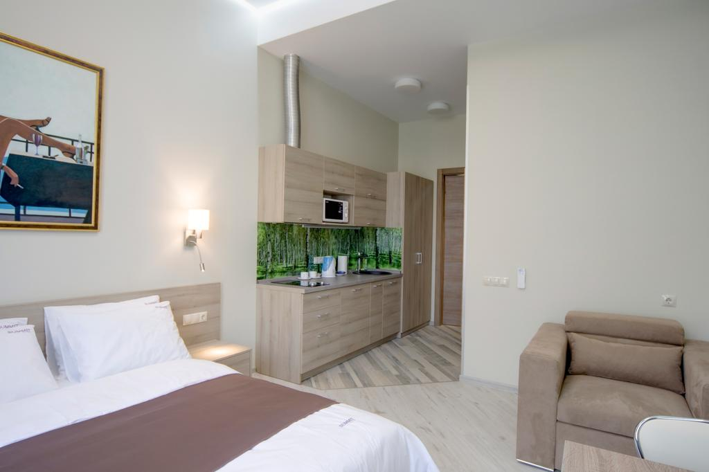 A room with modern renovation at the Summit Hotel