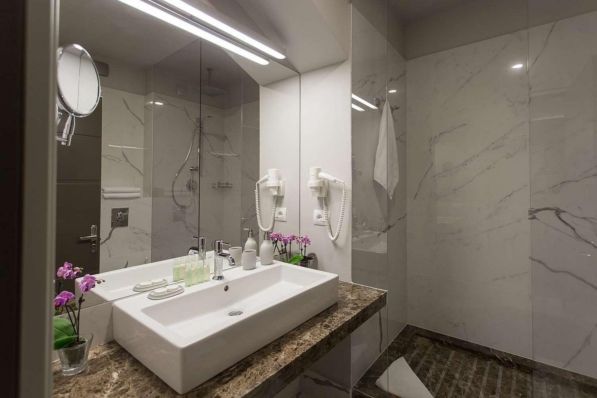Sink in the bathroom of UNO Design Hotel Odessa Ukraine