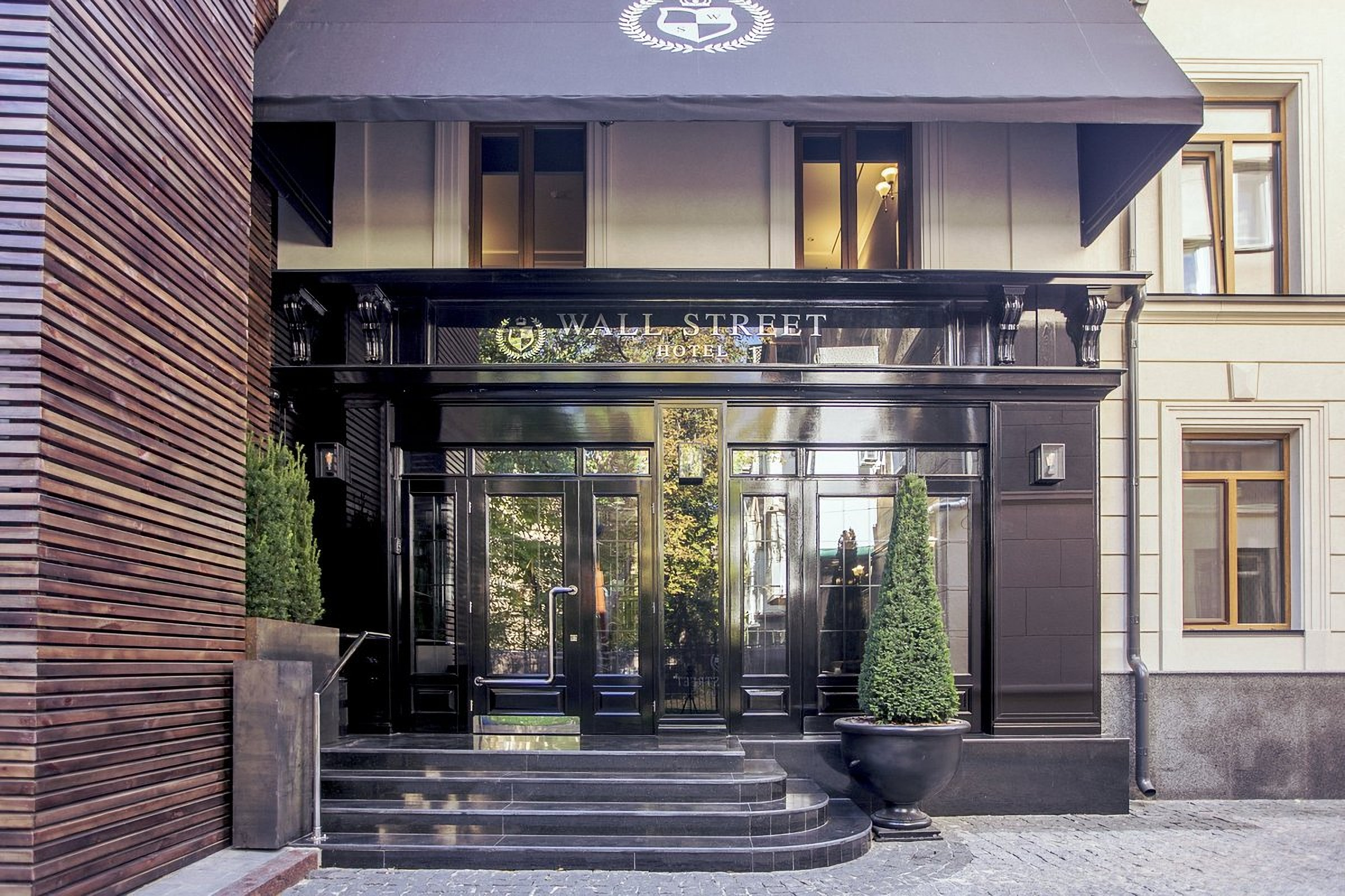 Entrance to the Wall Street Hotel Odessa Ukraine