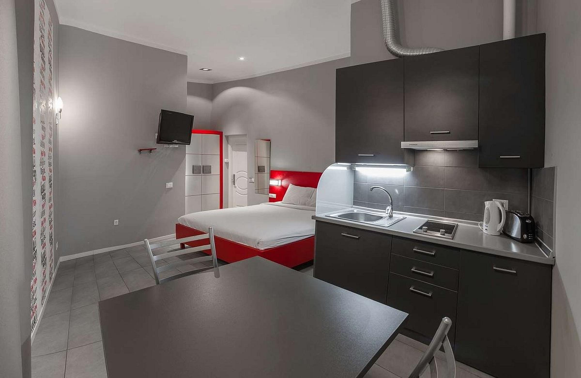 Kitchen in the room at the UNO Design Hotel Odessa Ukraine